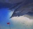 Rotes Fähnchen vor Gewitter